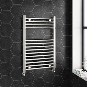 Brenton Chrome Straight Heated Towel Radiator - 22mm - 800 x 500mm