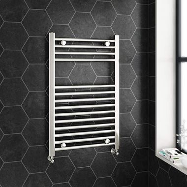 Brenton Chrome Straight Heated Towel Radiator - 22mm - 800 x 600mm