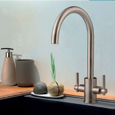 Clearwater Rococo Twin Lever Mono Sink Mixer with Swivel Spout - Brushed Nickel