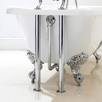 Vellamo Traditional Roll Top Bath Kit Chrome