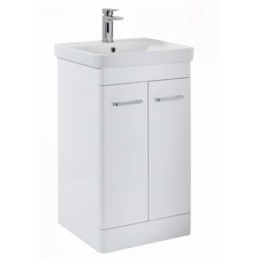 Harbour Identity 500mm Floorstanding Vanity Unit & Basin - Gloss White