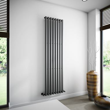 Brenton Oval Single Panel Vertical Radiator - Anthracite - 1800 x 472mm