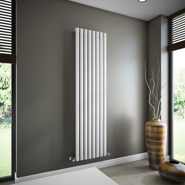 Brenton Oval Single Panel Vertical Radiator - White - 1800 x 472mm