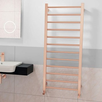 Brenton Rose Gold Dual Fuel Ladder Towel Radiator - 1200 x 500mm