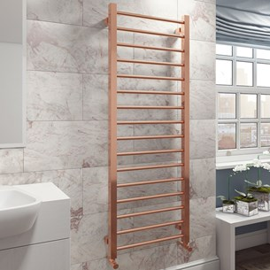 Brenton Rose Gold Ladder Towel Radiator - 1600 x 500mm