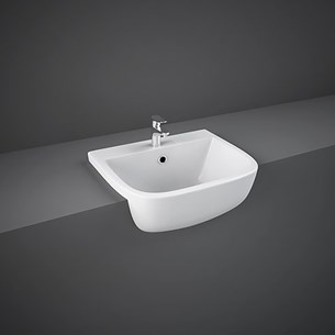 RAK Series 600 Ceramic Semi Recessed Basin 420mm - 2 Tap Hole