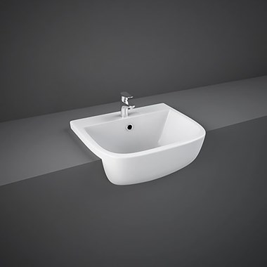 RAK Series 600 Ceramic Semi Recessed Basin 420mm - 1 Tap Hole