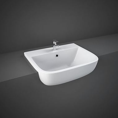 RAK Series 600 Ceramic Semi Recessed Basin 520mm - 1 Tap Hole