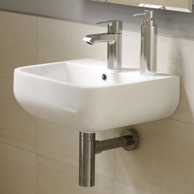 RAK Series 600 Wall Hung Cloakroom Hand Basin - 2 Tap Hole