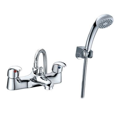 Sagittarius Prestige Twin Lever Bath Shower Mixer with Hose Handset and Wall Bracket