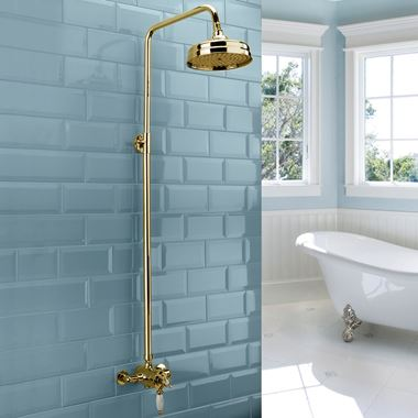 Sagittarius Traditional Rigid Riser Shower Kit with 120mm Shower Head - Gold
