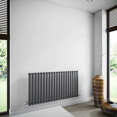 Brenton Oval Tube Single Panel Horizontal Radiator - 635mm x 1200mm - Anthracite