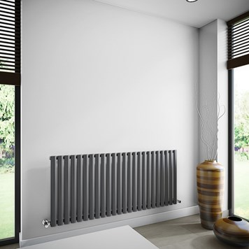 Brenton Oval Tube Single Panel Horizontal Radiator - 635mm x 1440mm - Anthracite