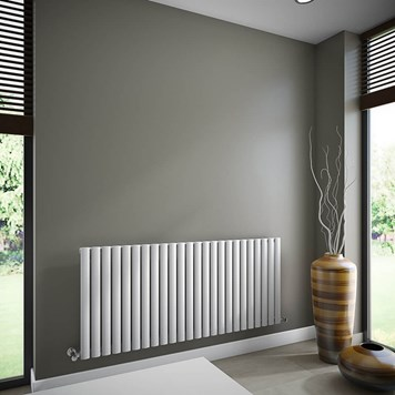 Brenton Oval Tube Single Panel Horizontal Radiator - 635mm x 1440mm - White