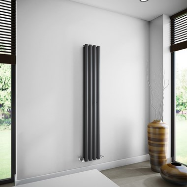 Brenton Oval Tube Double Panel Vertical Radiator - 1600mm x 240mm - Anthracite