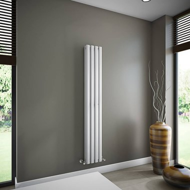 Brenton Oval Tube Double Panel Vertical Radiator - 1600mm x 240mm - White