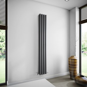 Brenton Oval Tube Double Panel Vertical Radiator - 1800mm x 240mm - Anthracite