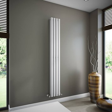 Brenton Oval Tube Double Panel Vertical Radiator - 1800mm x 240mm - White