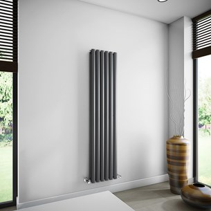 Brenton Oval Tube Double Panel Vertical Radiator - 1600mm x 360mm - Anthracite