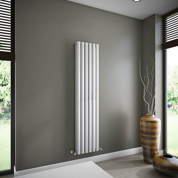 Brenton Oval Tube Double Panel Vertical Radiator - 1600mm x 360mm - White