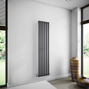 Brenton Oval Tube Single Panel Vertical Radiator - 1600mm x 360mm - Anthracite