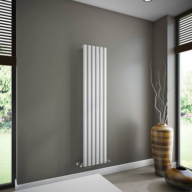 Brenton Oval Tube Single Panel Vertical Radiator - 1600mm x 360mm - White