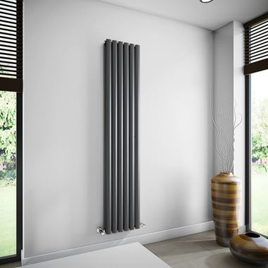 Brenton Oval Tube Double Panel Vertical Radiator - 1800mm x 360mm - Anthracite