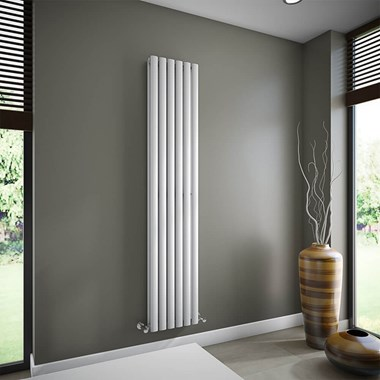 Brenton Oval Tube Double Panel Vertical Radiator - 1800mm x 360mm - White