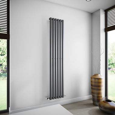 Brenton Oval Tube Single Panel Vertical Radiator - 1800mm x 360mm - Anthracite