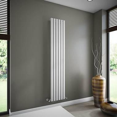 Brenton Oval Tube Single Panel Vertical Radiator - 1800mm x 360mm - White