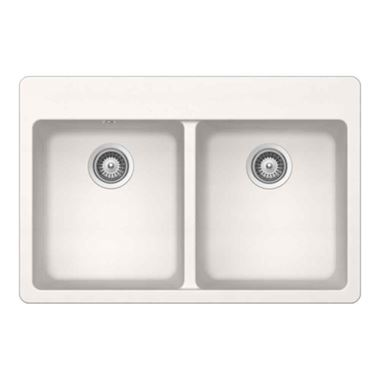Schock Alive White Polaris Cristadur Granite Double Bowl Sink & Waste Kit