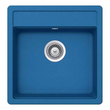 Schock Nemo Ocean Blue Cristalite Granite Single Bowl Sink with Tap Wing & Waste Set - 540 x 510mm