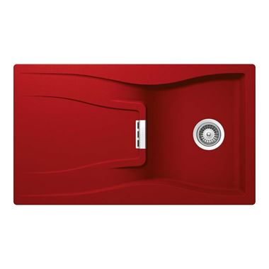 Schock Waterfall Cristadur Single Bowl Sink & Drainer - Reversible - Rouge