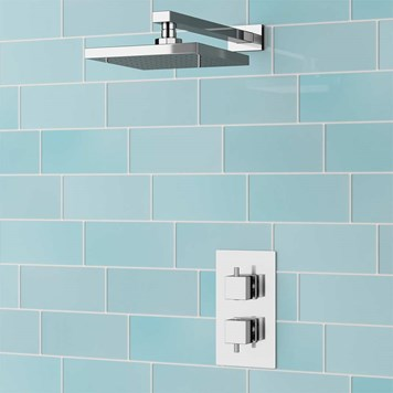 Senja Square Concealed Thermostatic Shower Valve & Fixed Shower Head