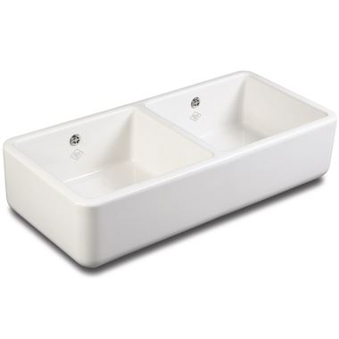 Shaws Classic Farmhouse White Ceramic Double Bowl Sink