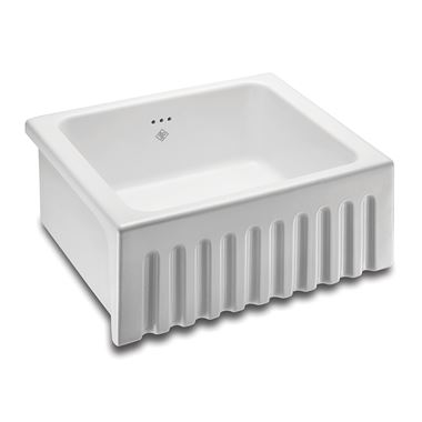 Shaws Original Bowland Ceramic Single Bowl Fluted Front Sink - 595mm x 465mm