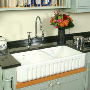 Shaws Ribchester White Ceramic Double Bowl Fluted Front Sink