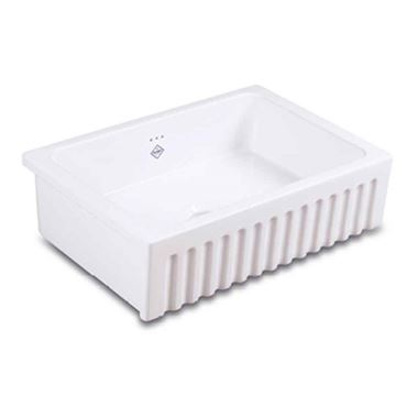 Shaws Bowland 600 White Ceramic Single Bowl Fluted Front Sink - 595 x 465mm