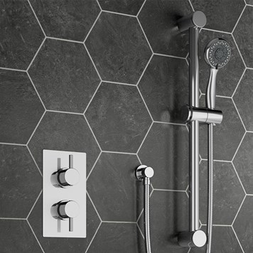 Ponza Concealed Thermostatic Shower Valve & Slide Rail Kit