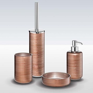 Bathroom Origins Silk Copper Brown 4 Piece Freestanding Accessory Pack