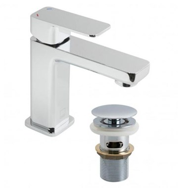 Vado Phase Single Lever Mini Mono Basin Mixer with Clicker Waste