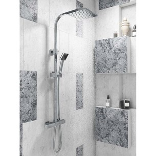 Vellamo Epic Square 2 Thermostatic Bar Shower Valve & Rigid Riser Kit