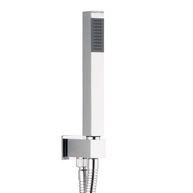 Crosswater Square Shower Kit with Hose, Handset & Integrated Wall Outlet with Handset Attachment