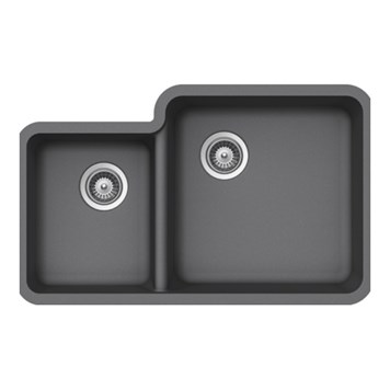 Schock Solido Cristalite 838mm 1.75 Bowl Undermount Sink with Waste - Croma - Grey