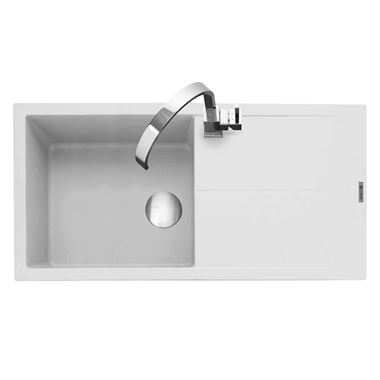Caple Sotera 1 Bowl Chalk White Granite Composite Kitchen Sink & Waste Kit with Reversible Drainer - 1000 x 500mm