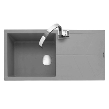 Caple Sotera 1 Bowl Pebble Grey Granite Composite Kitchen Sink & Waste Kit with Reversible Drainer - 1000 x 500mm