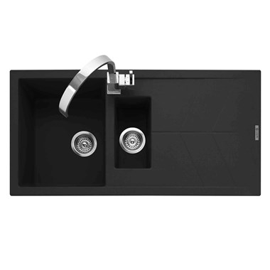 Caple Sotera 1.5 Bowl Anthracite Granite Composite Kitchen Sink & Waste Kit with Reversible Drainer - 1000 x 500mm