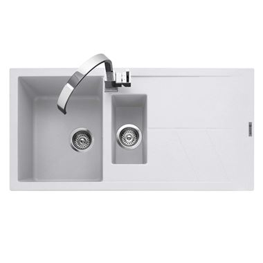 Caple Sotera 1.5 Bowl Chalk White Granite Composite Kitchen Sink & Waste Kit with Reversible Drainer - 1000 x 500mm