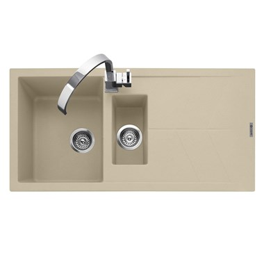 Caple Sotera 1.5 Bowl Desert Sand Granite Composite Kitchen Sink & Waste Kit with Reversible Drainer - 1000 x 500mm