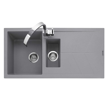 Caple Sotera 1.5 Bowl Pebble Grey Granite Composite Kitchen Sink & Waste Kit with Reversible Drainer - 1000 x 500mm
